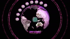 Animated planet purples rotates with continents Stock Footage