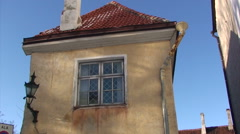 Side of old house in the historical quarter of Tallinn Stock Footage