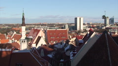 View to Tallinn from hill in the center, capital of Estonia - Pan right Stock Footage