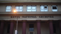 Kenya National Archives building, Nairobi, Kenya, tilt down, medium shot Stock Footage