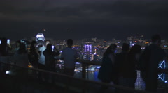 Asian tourists view HK from the Peak 4K Stock Footage