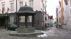 Well in the middle of the old town of Tallinn Stock Footage