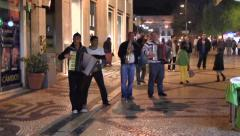 Lisbon, Portugal Evening Street Performers (with music) Stock Footage