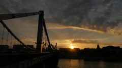 Krymsky bridge through Moscow-river, sunset Stock Footage