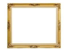 Gold louise photo frame over white background,isolated object - stock photo