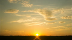 Horizon line, cloudy sky, sunset Stock Footage