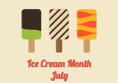 Poster for Ice Cream Month - July - stock illustration