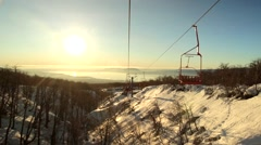 Ski Lift Passing By Stock Footage