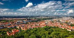 General view of Prague's historic center and the river Vltava Stock Photos
