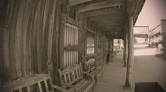 Boardwalk Sidewalk In Old West Town- Sepia Tone Stock Footage