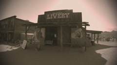 Livery In Goldfield Old West Town- Sepia Tone Stock Footage