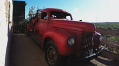 Old Fire Truck In Arizona Desert- Late Afternoon Stock Footage