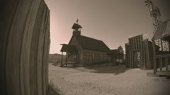 Old West Church And Buildings- Apache Junction AZ- Sepia Tone Stock Footage
