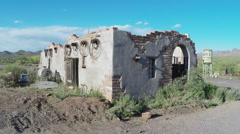 Old West Adobe House Ruin In Arizona Sonoran Desert Stock Footage