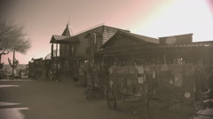 Storefronts In Old West Town- Sepia Tone - stock footage