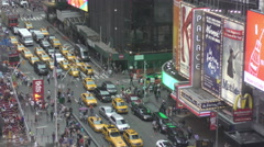 Times Square New York City traffic from above Stock Footage