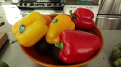 Fresh Organic Peppers on Display in Kitchen Stock Video Stock Footage