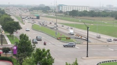 Multi-Lane Freeway and Service Road Traffic Stock Footage