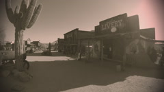 Street In Old West Town- Sepia Tone Stock Footage