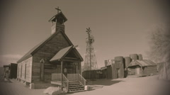 Wooden Church And Buildings In Old West Town- Sepia Tone - stock footage