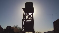 Wooden Water Tower In Old West Town Stock Footage