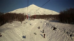 Ski Lift and Snow at the Volcano Stock Footage