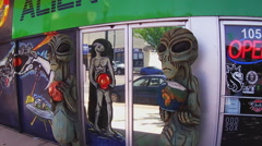 Alien Icons Outside Business- Roswell New Mexico Stock Footage