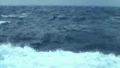 Choppy waves from bad weather, view from cruise ship cabin Stock Footage