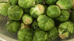 Brussel Sprouts on Counter Table Stock Video Stock Footage