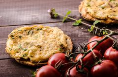 Mini omelets crunchy pastry - stock photo