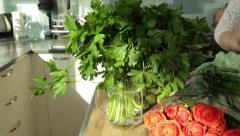Female Chef Prepares Fresh Cilantro Stock Video Stock Footage