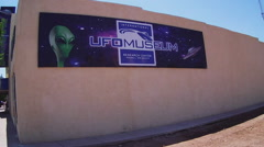 UFO Museum Sign On Building- Roswell New Mexico Stock Footage