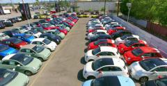4K, Drone, Aerial  view of Car Dealership at Sale Event Stock Footage