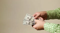 Cash transaction gives dollars Stock Footage