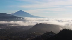 View of San Cristobal de La Laguna and Las Mercedes with Teide. Tenerife, Spain. Stock Footage