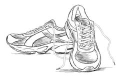 Handmade Sneakers Sports Shoe Vector Sketch Illustration - stock illustration