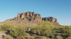 Superstition Mountain From Lost Dutchman State Park- Arizona Stock Footage