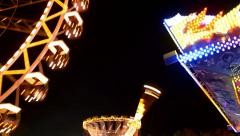 Rotating Carousel At An Luna Park Stock Footage