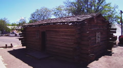Replica 1870s Log Cabin- Silver City New Mexico Stock Footage