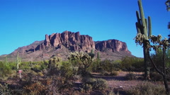 Lost Dutchman State Park With Superstition Mountain Stock Footage