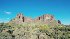 Superstition Mountain From Apache Junction Arizona- Wide Stock Footage
