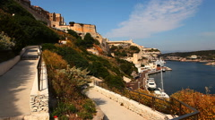 The Citadel and harbor at Bonifacio, Corsica, France - stock footage