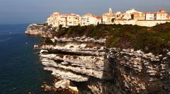 The harbor at Bonifacio, Corsica, France Stock Footage