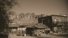 Old West Town With Superstition Mountain- Sepia Tone - stock footage