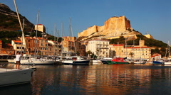 Stock Video Footage of The old town of Bonifacio, Corsica, France