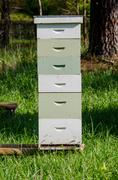 Stacked Beekeeping Boxes - stock photo