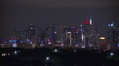 Night City Skyline with High Voltage Power Line Stock Footage
