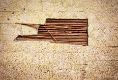 Old Damaged Wall or Reed - stock photo