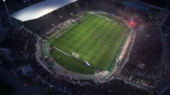Aerial view of the Toumba Stadium full of fans and supporters Stock Footage