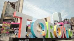 Toronto Pan Am Games Sculpture Stock Footage
